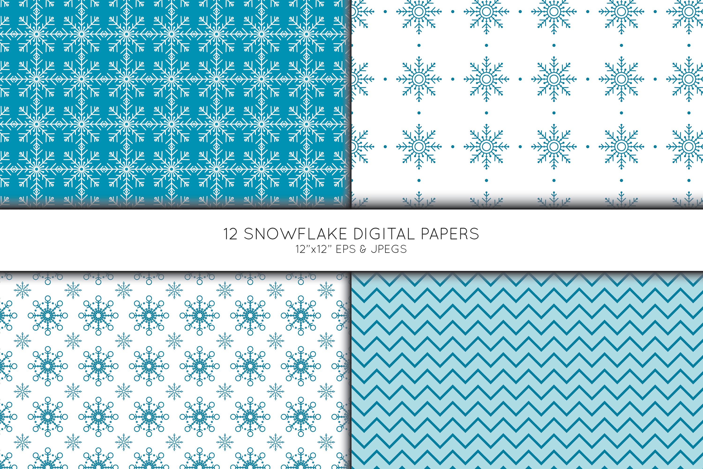 Snowflake Digital Paper, Snowflake Scrapbook paper example image 3
