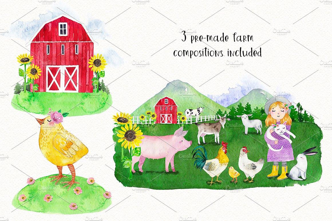 FARM ANIMALS watercolor set PART 1 example image 7