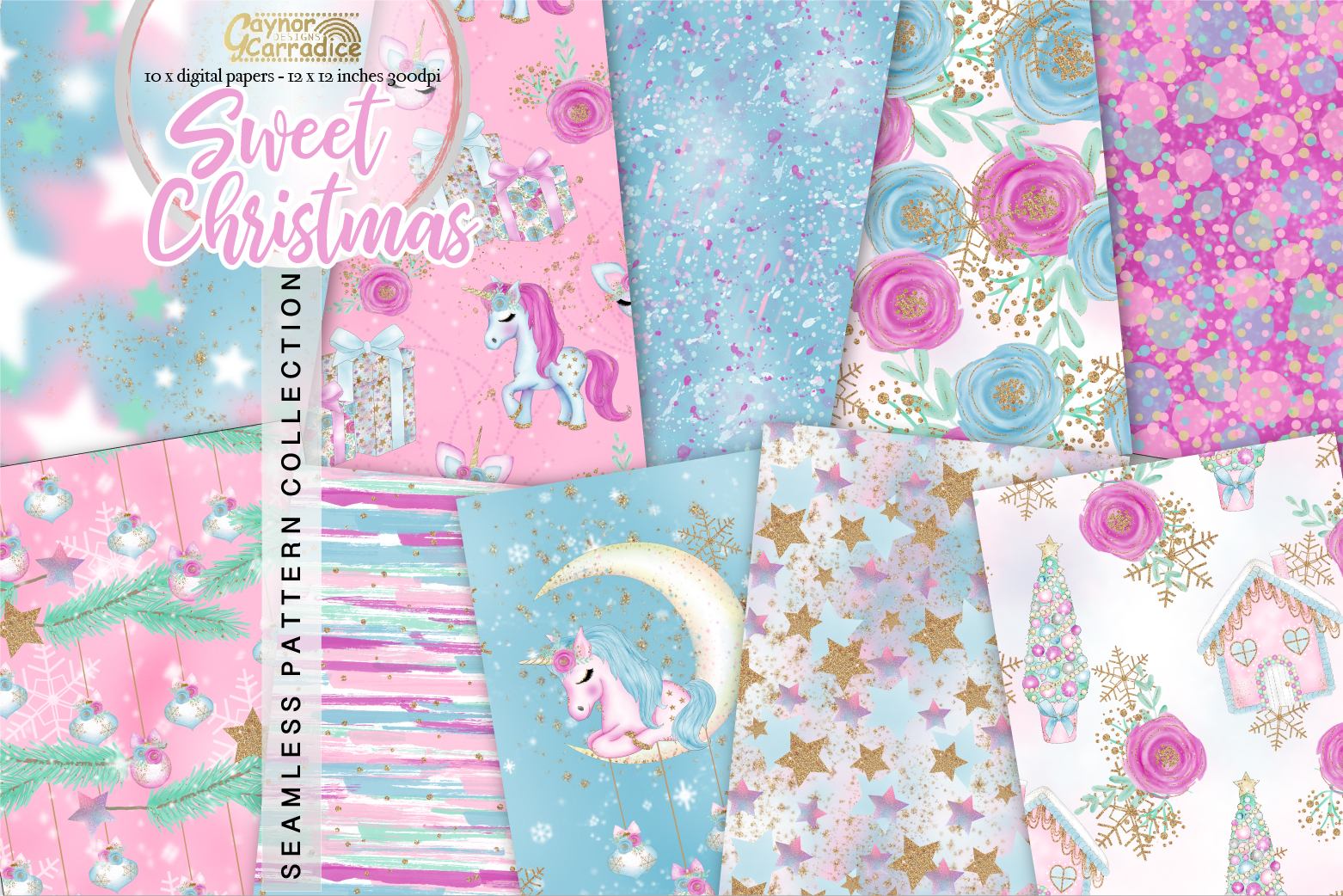 Christmas Unicorn Seamless Pattern collection example image 1