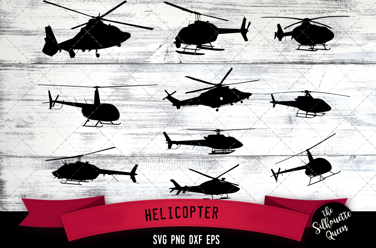 Helicopter svg file, chopper svg cut file, silhouette studio example image 1