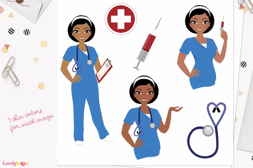 Nurse woman character clip art L374 Neve example image 1