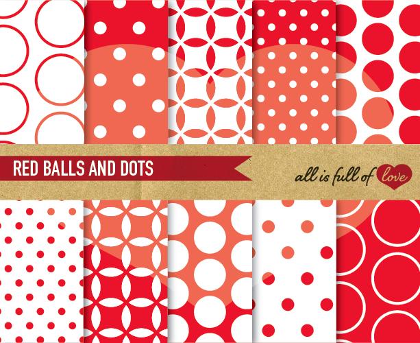 Polka Dots Digital Paper Red Scrapbook Background Patterns