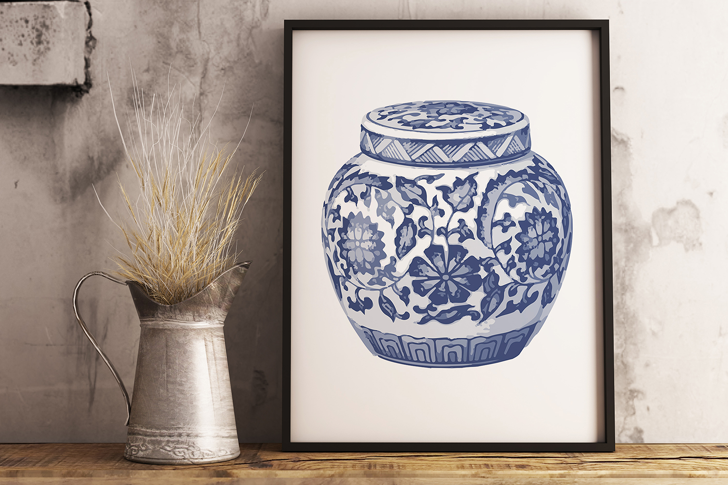 Indigo Blue and White Printable Kitchen Ginger Jar Wall Art example image 3