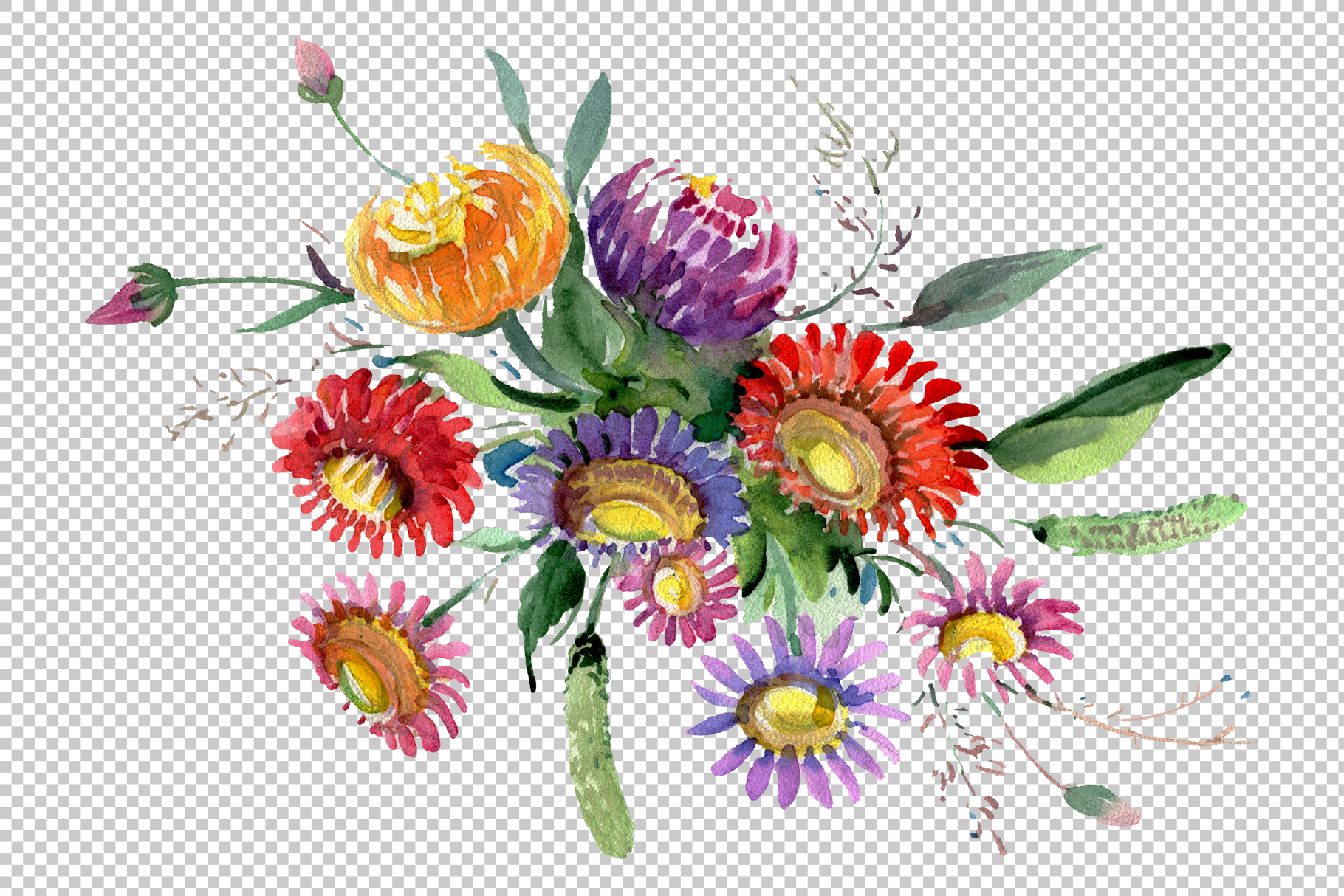 Bouquet of flowers matures feelings watercolor png example image 2