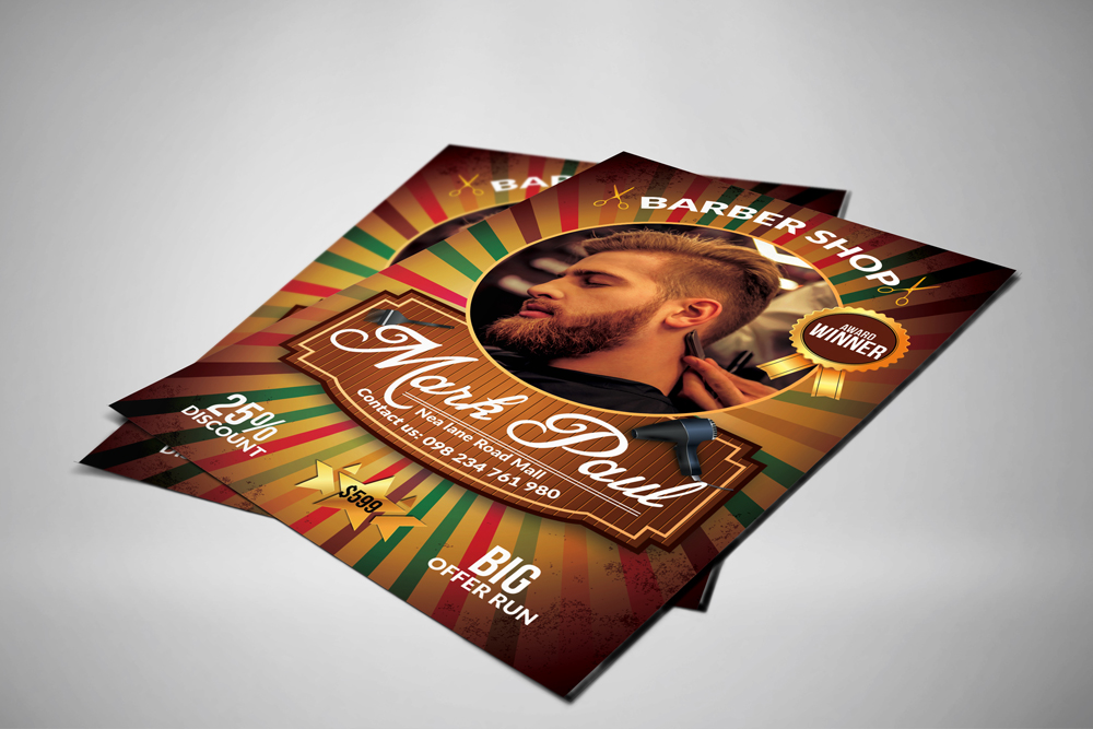 Barber Shop Psd Flyer Template example image 3