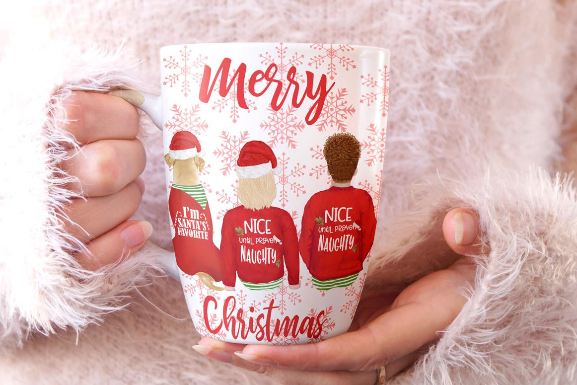 Christmas family clipart, Santa hat, Santa matching pajamas example image 2