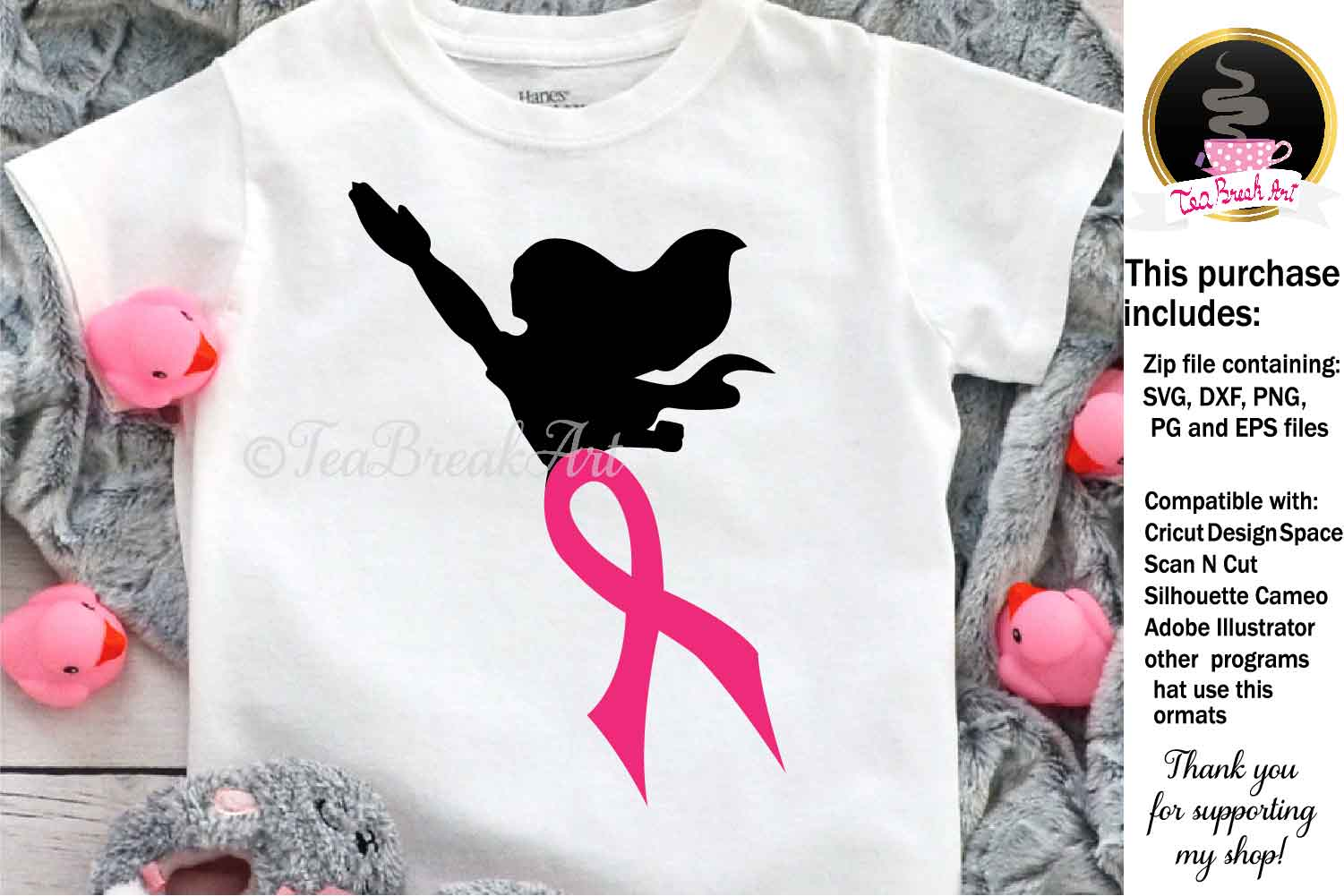Superwoman Breast Cancer Awareness Cutting Files 1082 example image 1