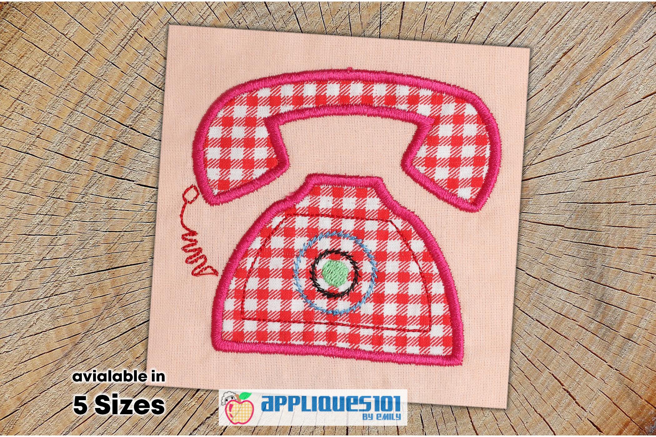 Vintage Telephone Machine Embroidery Applique Design- Phones example image 1