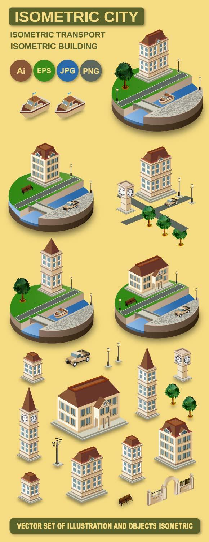 Isometric retro vector city example image 2