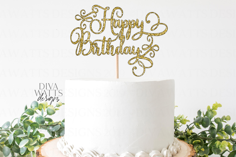 Prime Happy Birthday Cake Topper Swirls Script Simple Svg Funny Birthday Cards Online Necthendildamsfinfo
