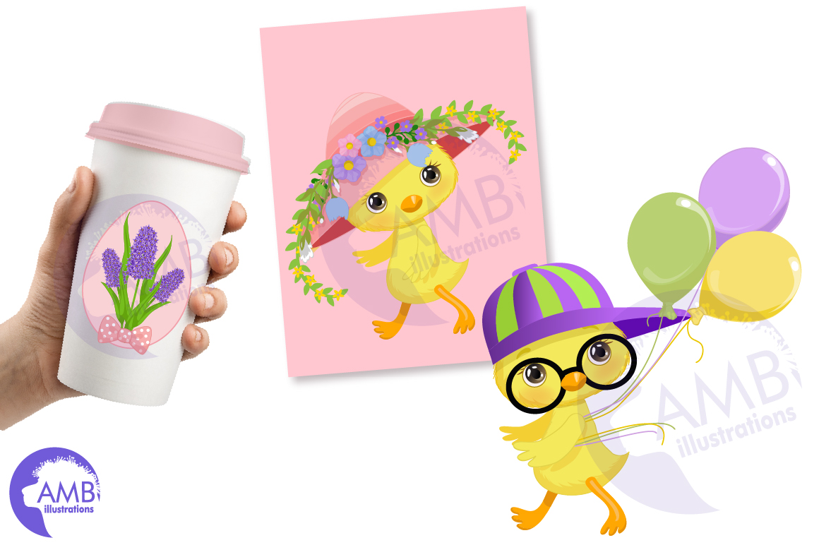 Easter Chicks clipart, part 3 AMB- 2728 example image 2