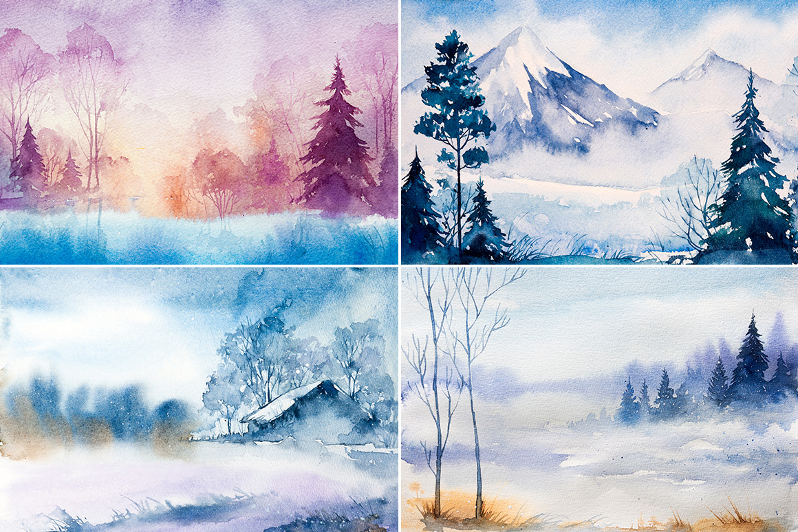 Winter Landscapes set#3. Watercolor. example image 2