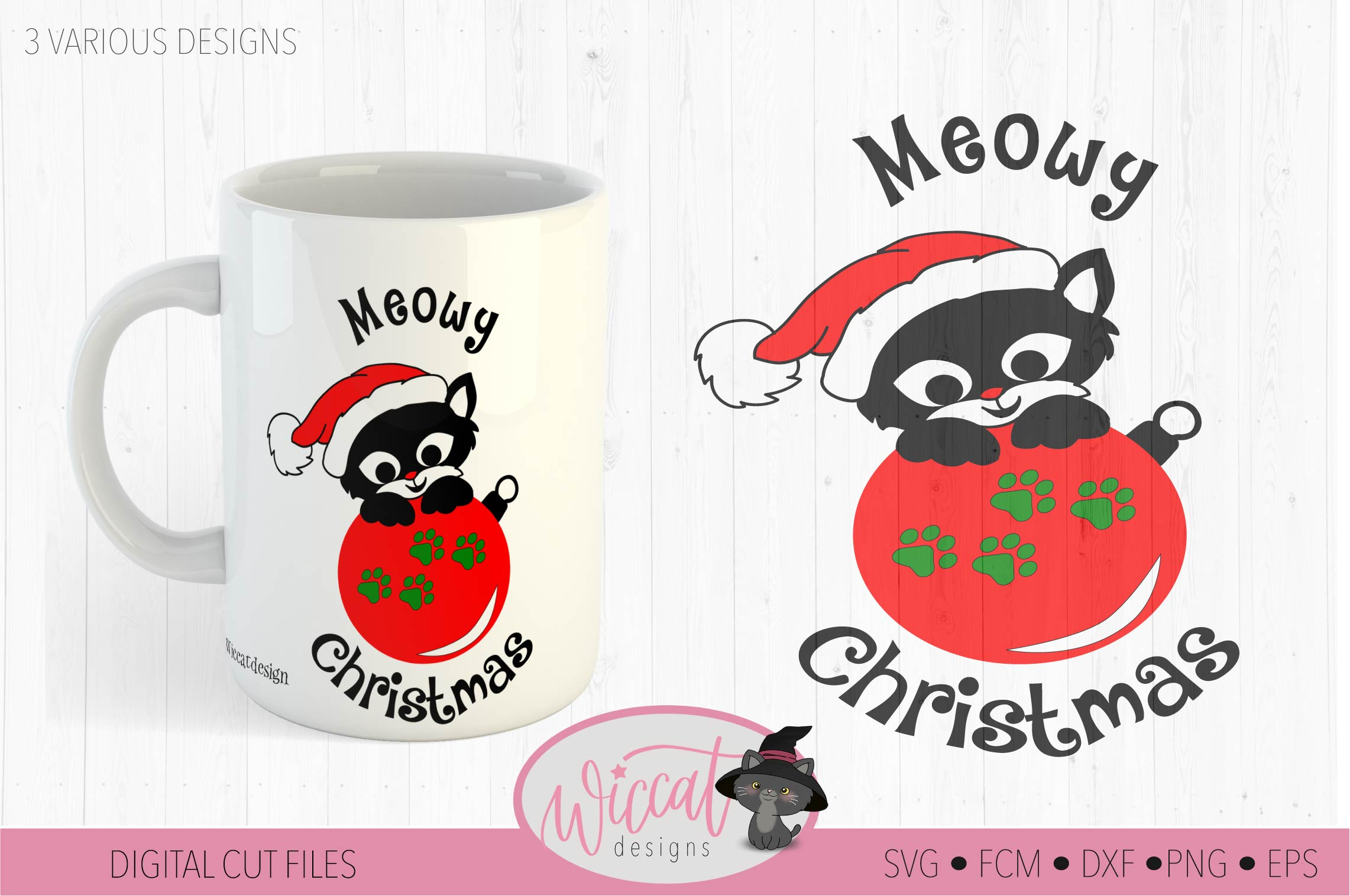 Christmas cat svg, Happy Christmas svg, Cat ornament svg, example image 2