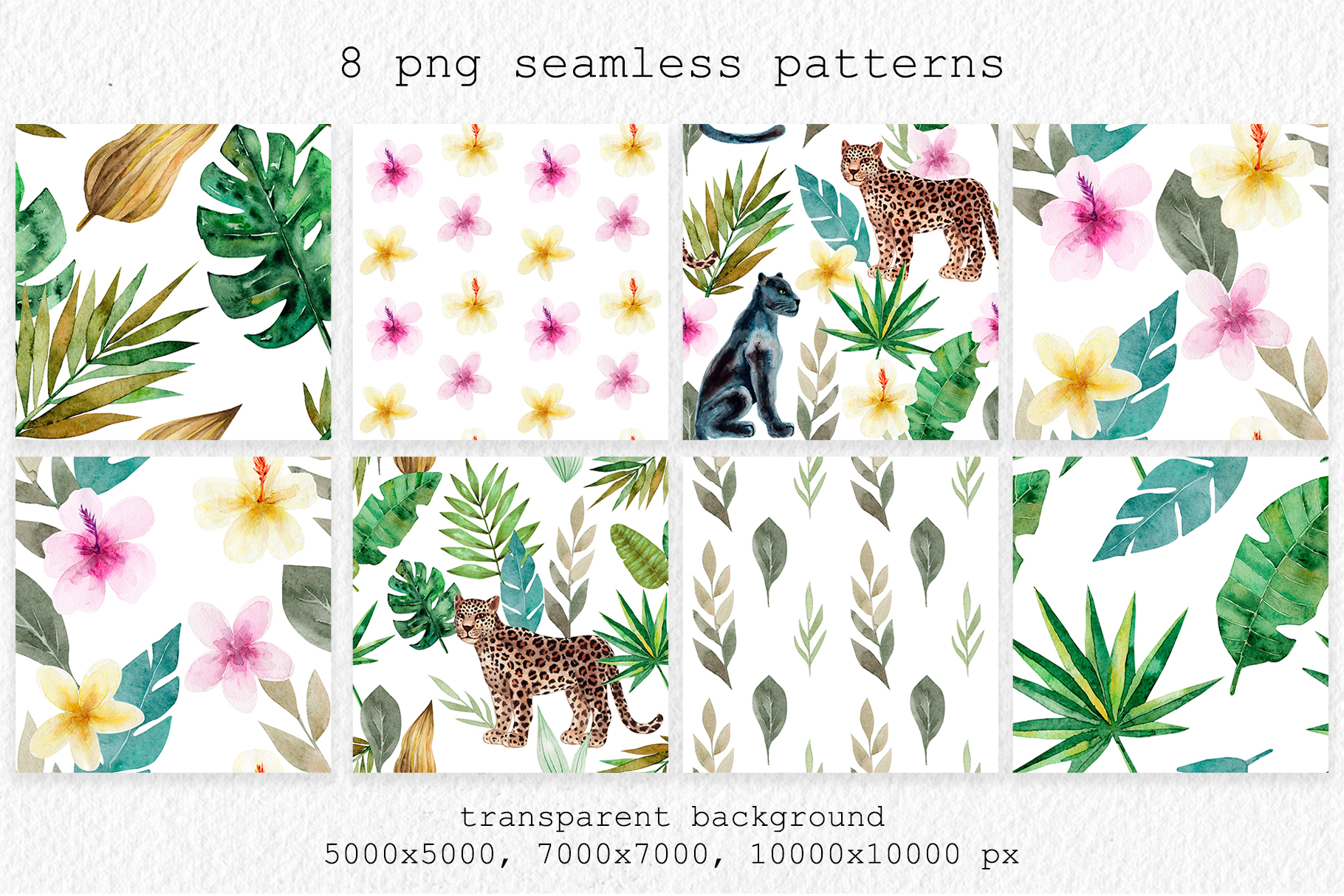 Jungle Animals. Watercolor Patterns example image 3