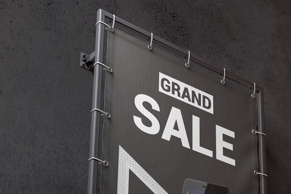 Vertical Outdoor Advertising Banner Mockup example image 7