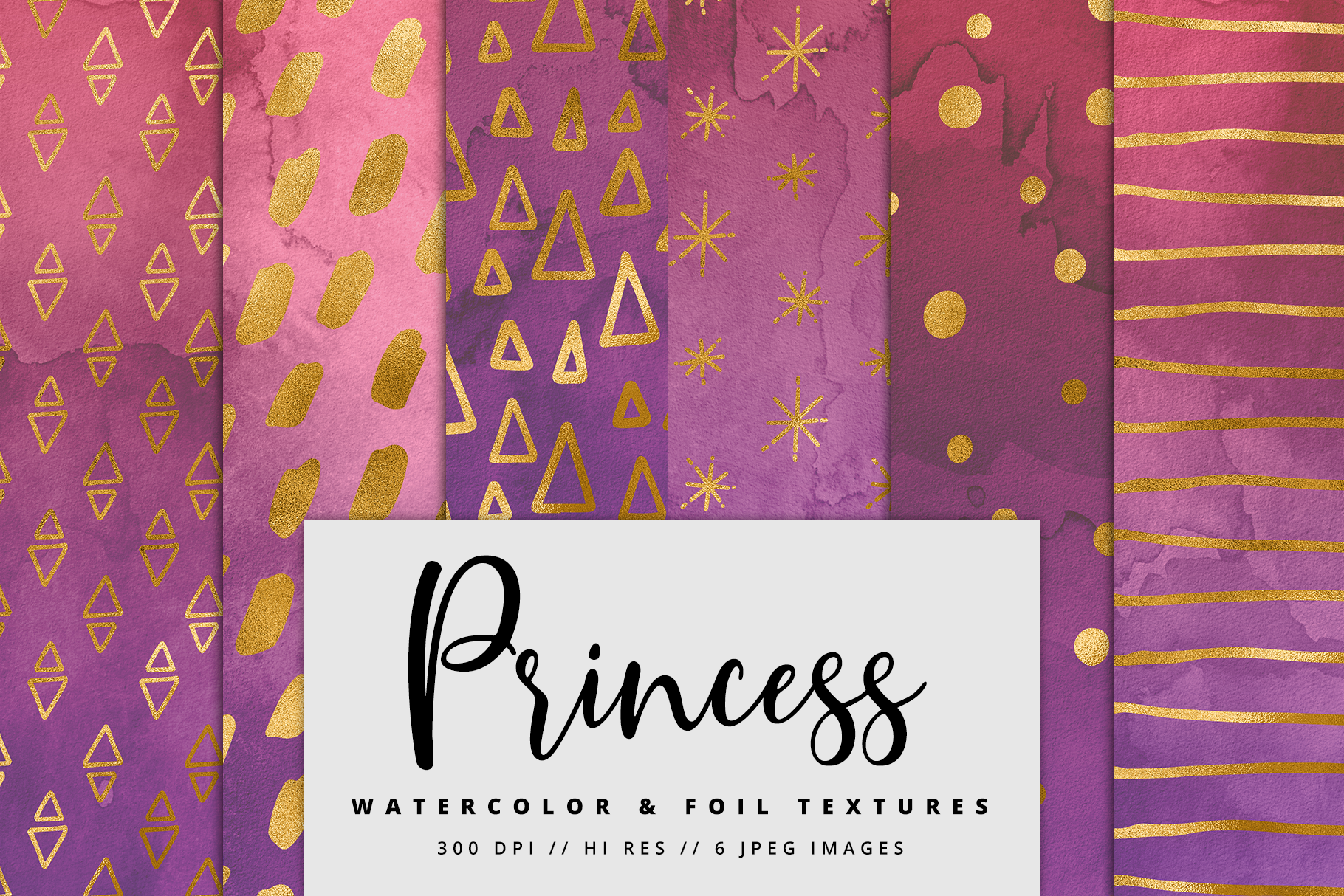 Princess Gold Watercolor Foil Textures | 6 Pack example image 1