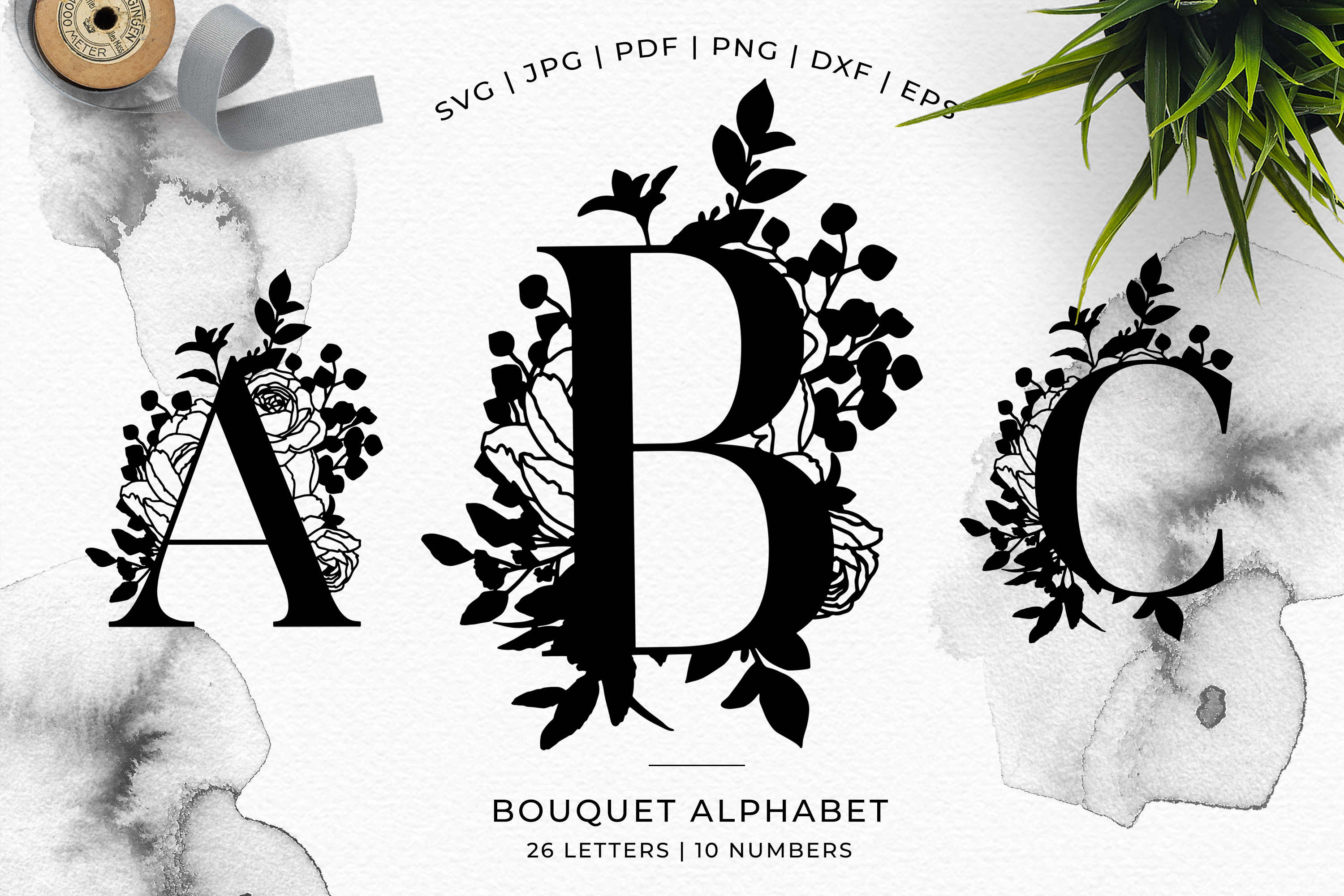 Bouquet Alphabet - Papercutting SVG DXF PNG EPS JPG PDF example image 5