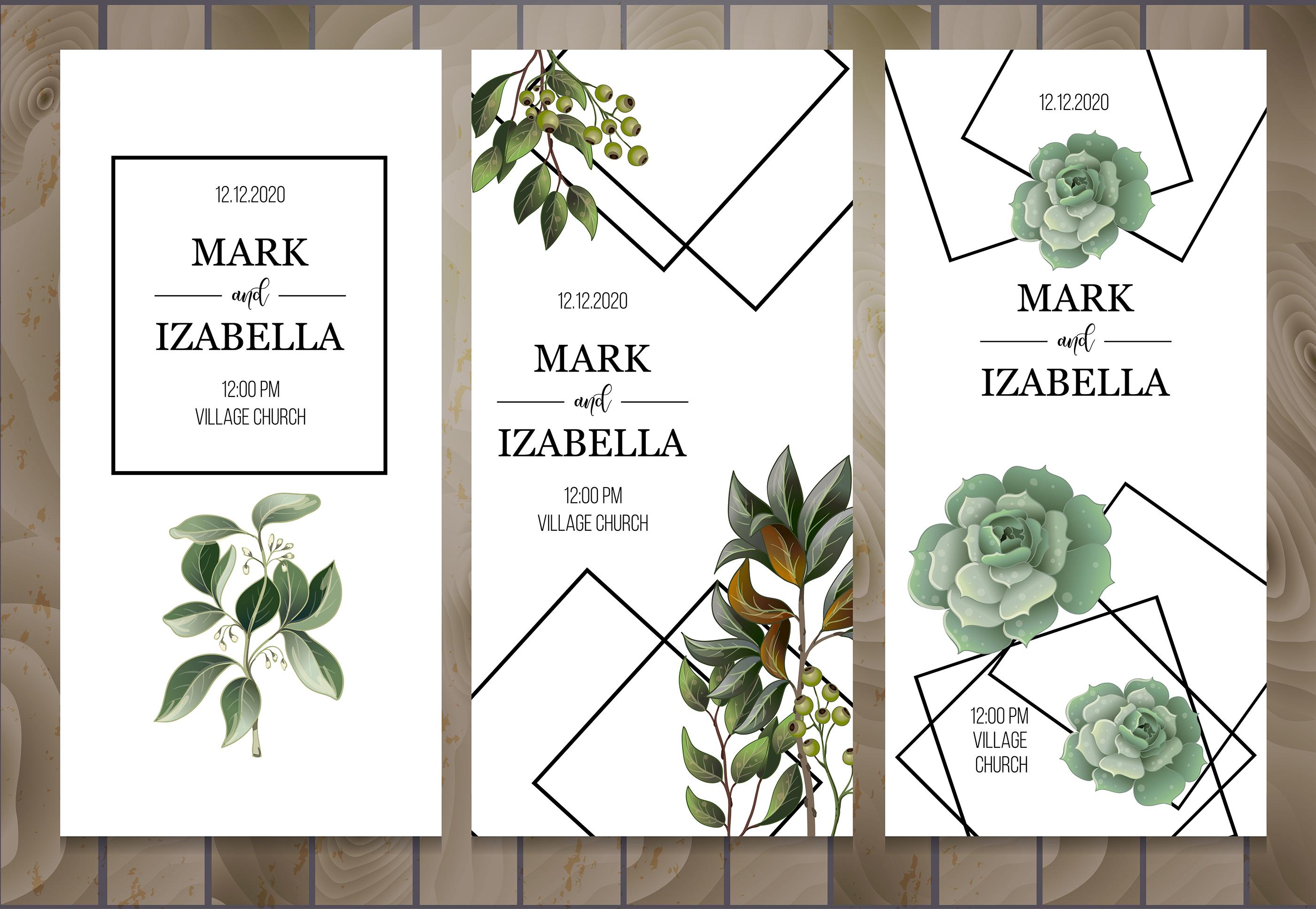 Wedding greenery invitation, patterns and isolated elements example image 6