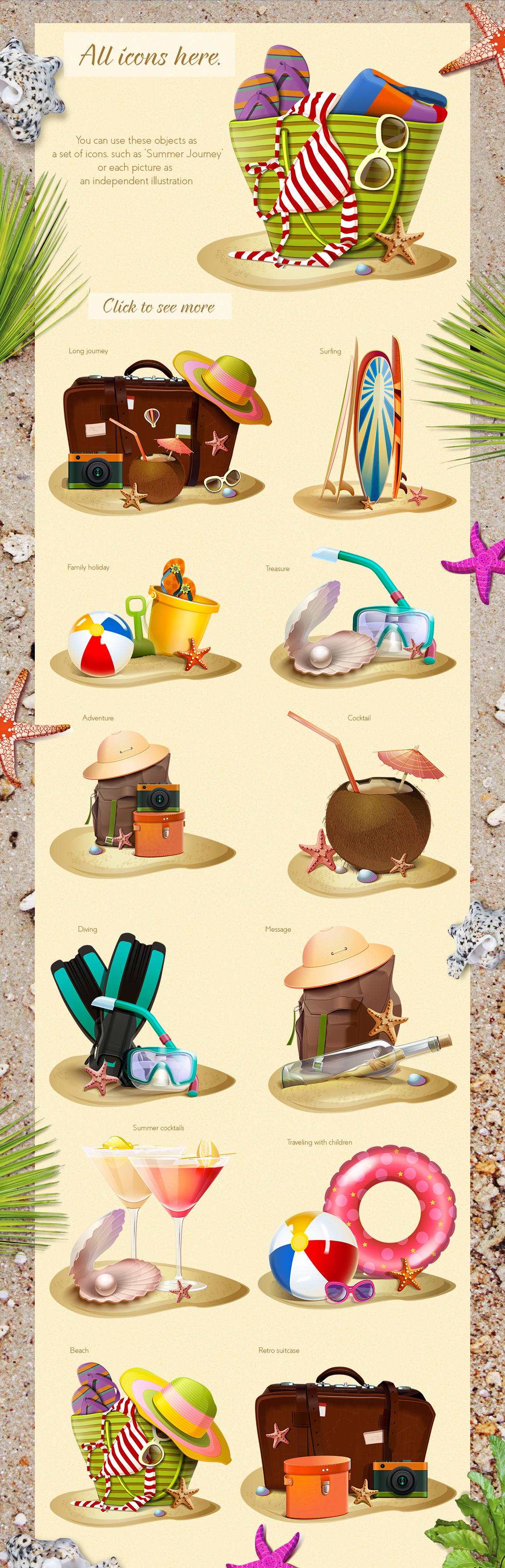 Summer icons vector set example image 6