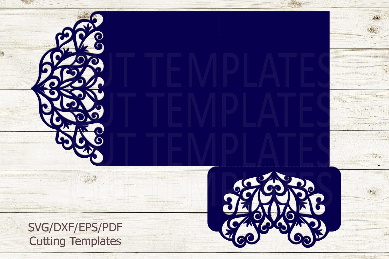 Trifold wedding invitation svg dxf pdf laser cut cricut file example image 3