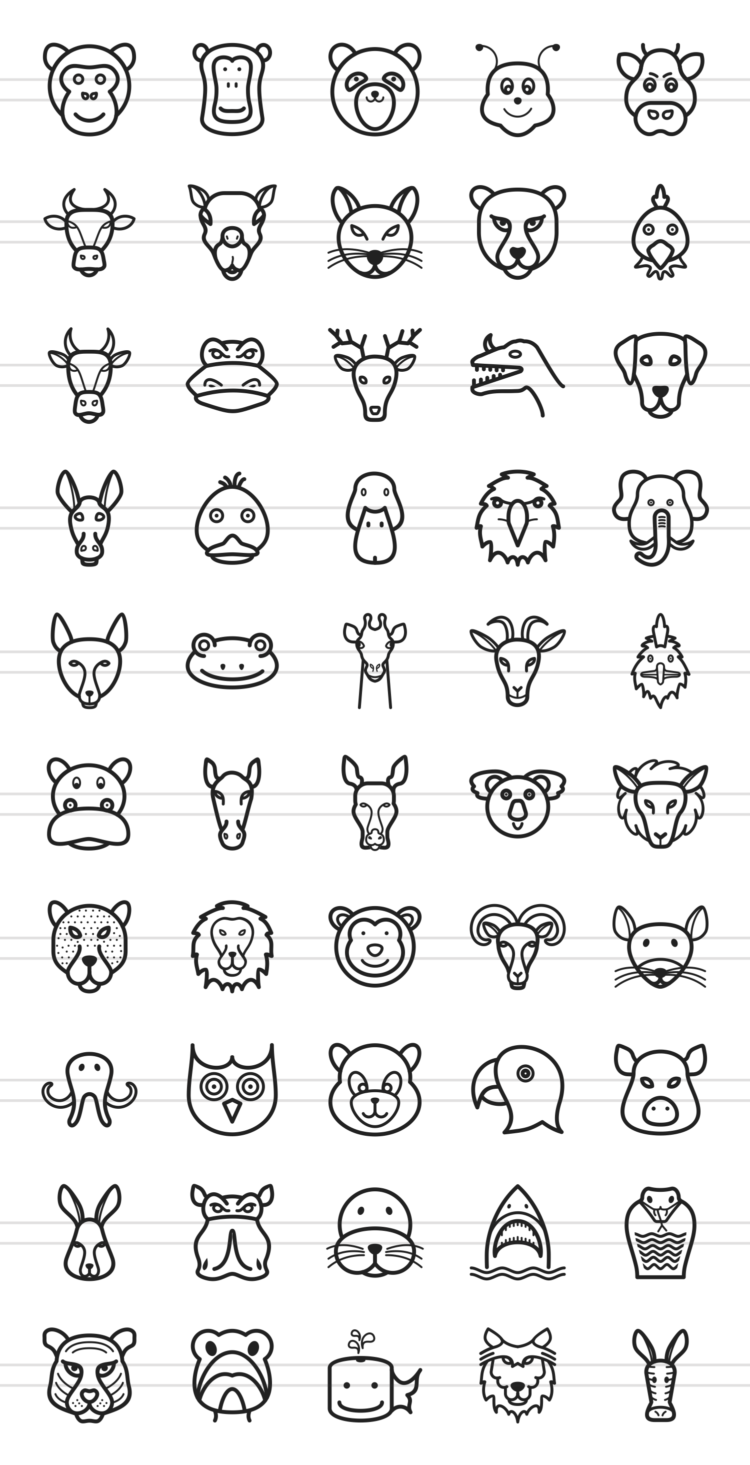 50 Animal Faces Line Icons example image 2