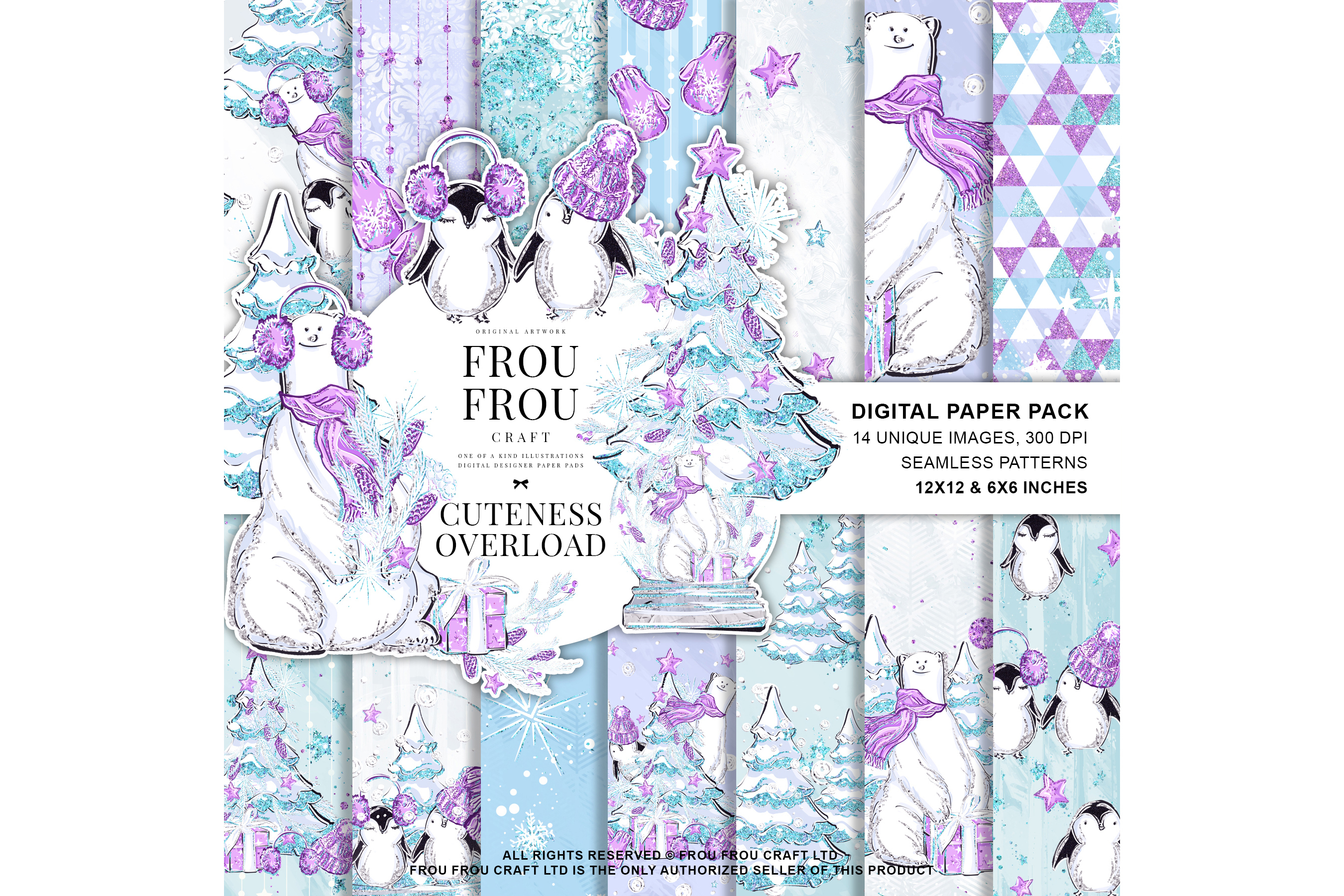 Winter Christmas Tree Penguin Bear Paper Pack example image 1
