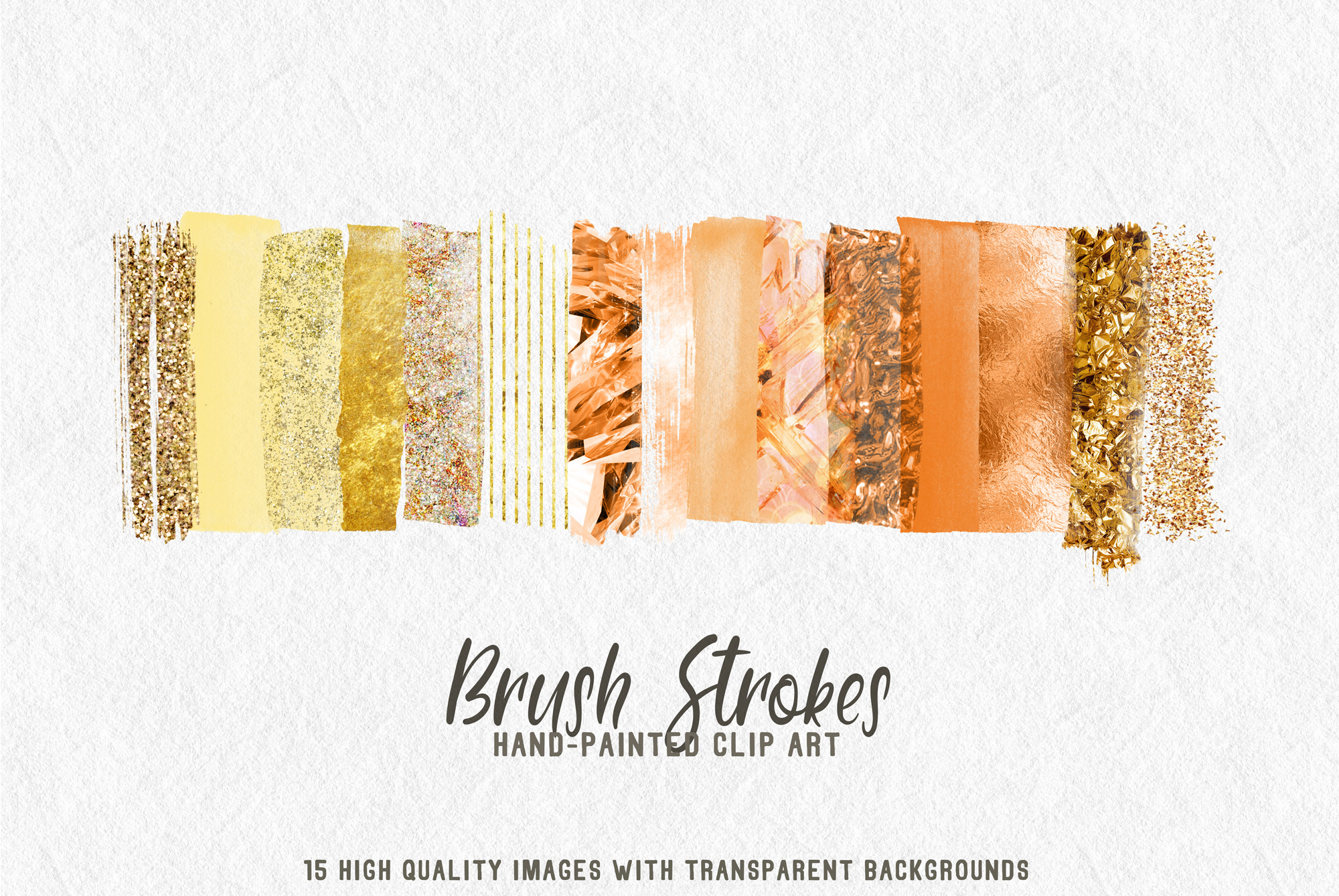 15 brush strokes clipart rose gold 2 example image 1