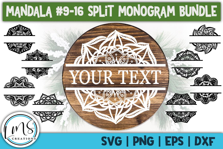 Split Mandala 1-24 Split Monogram Bundle SVG, PNG, EPS, DXF example image 4