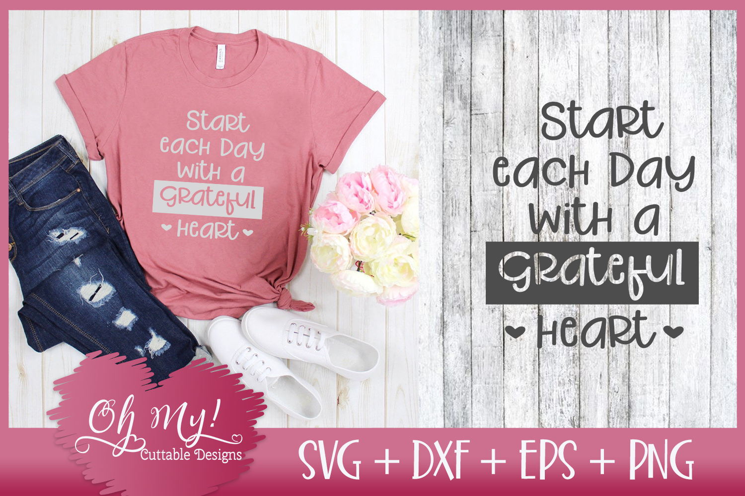 Start Each Day With A Grateful Heart - SVG DXF EPS PNG C example image 1