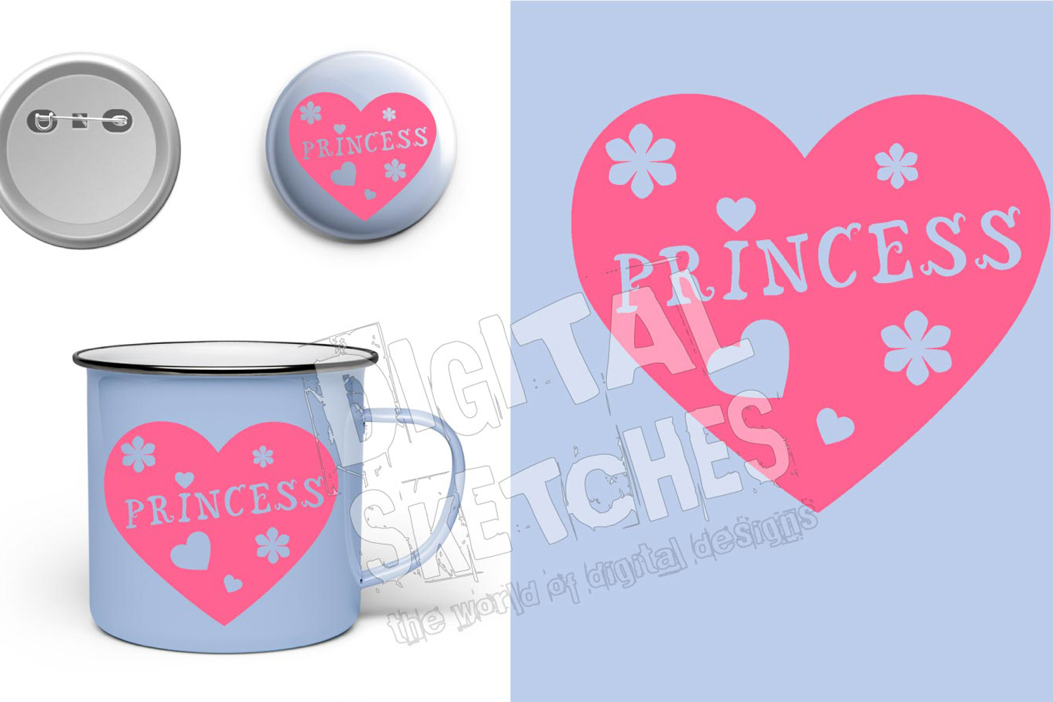 Princess Flower Heart Cut File Vector Graphics example image 1