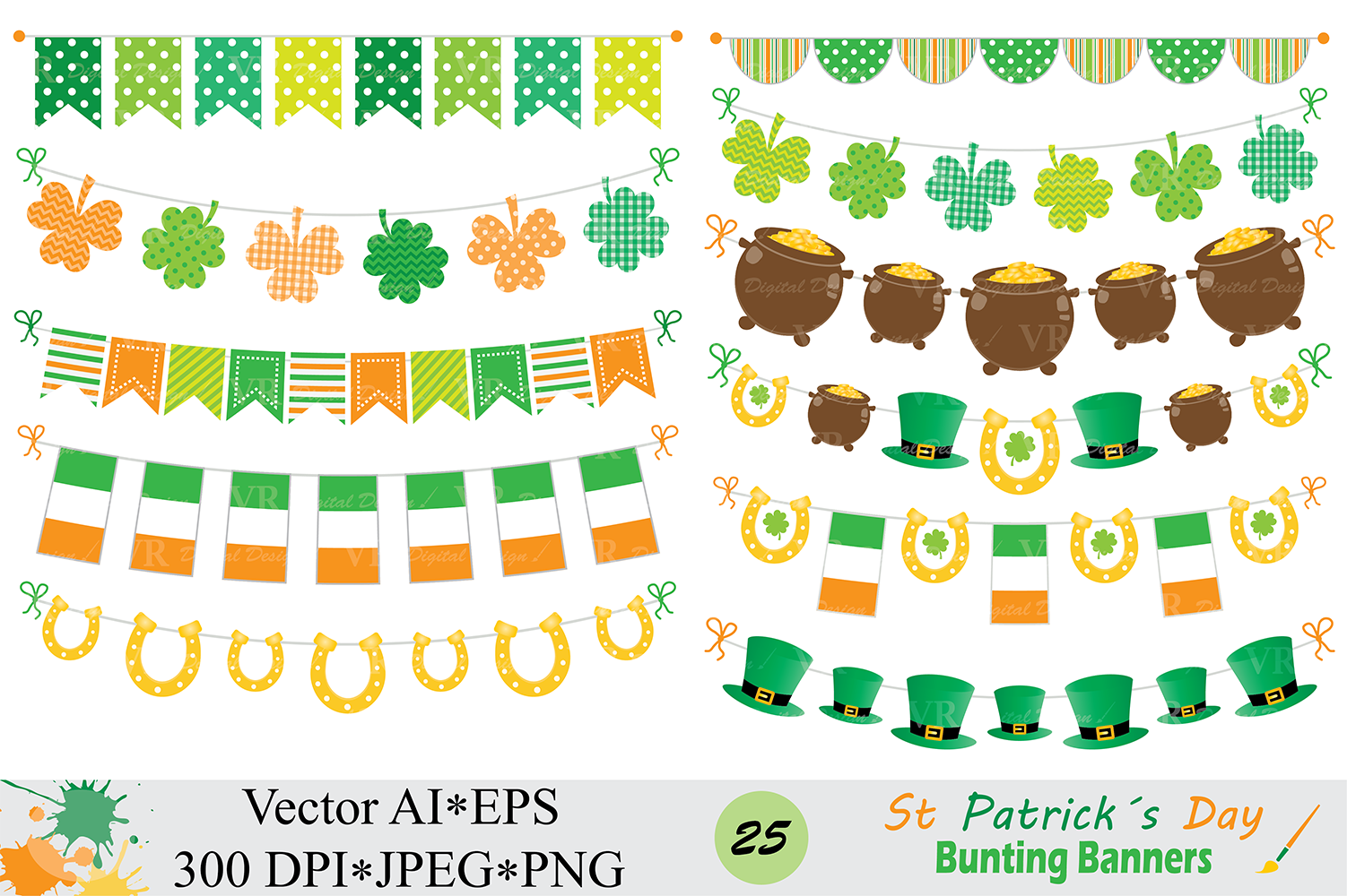 St Patrick`s Day Bunting Banner Clipart / Irish Orange and Green Bunting Vector Clip Art example image 1
