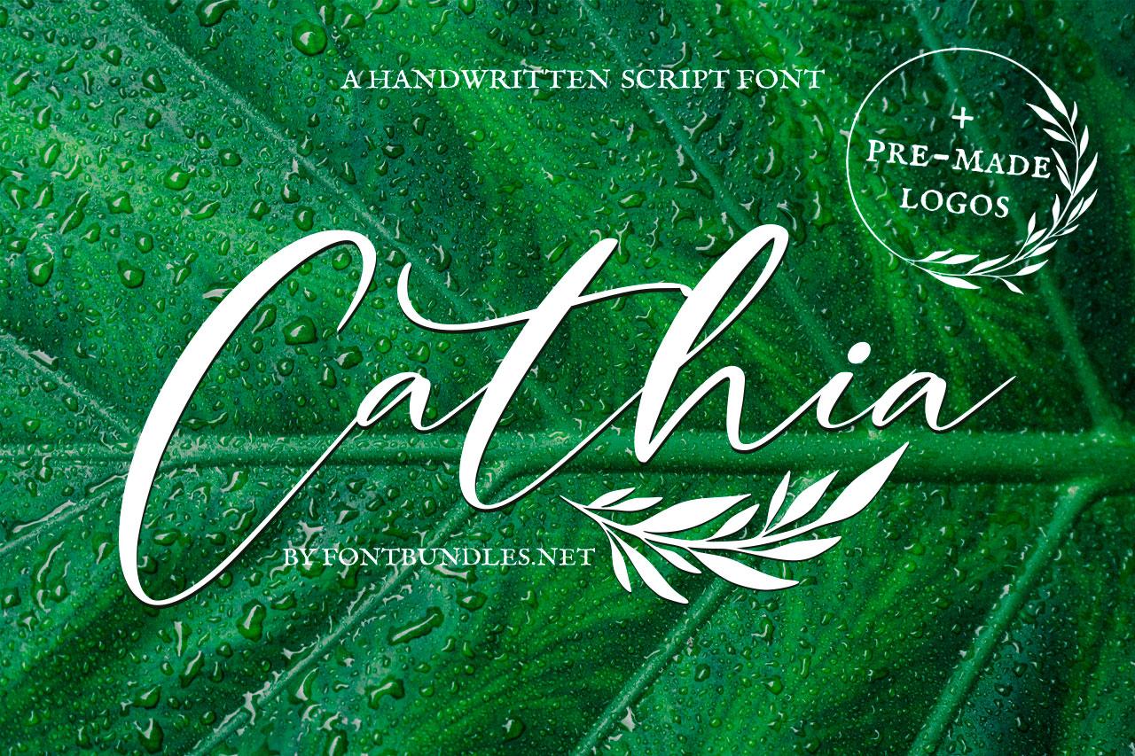 Cathia Script Font & Logos example image 1