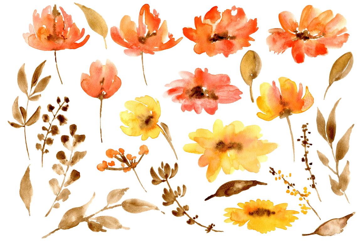 Watercolour red poppy flowers example image 2