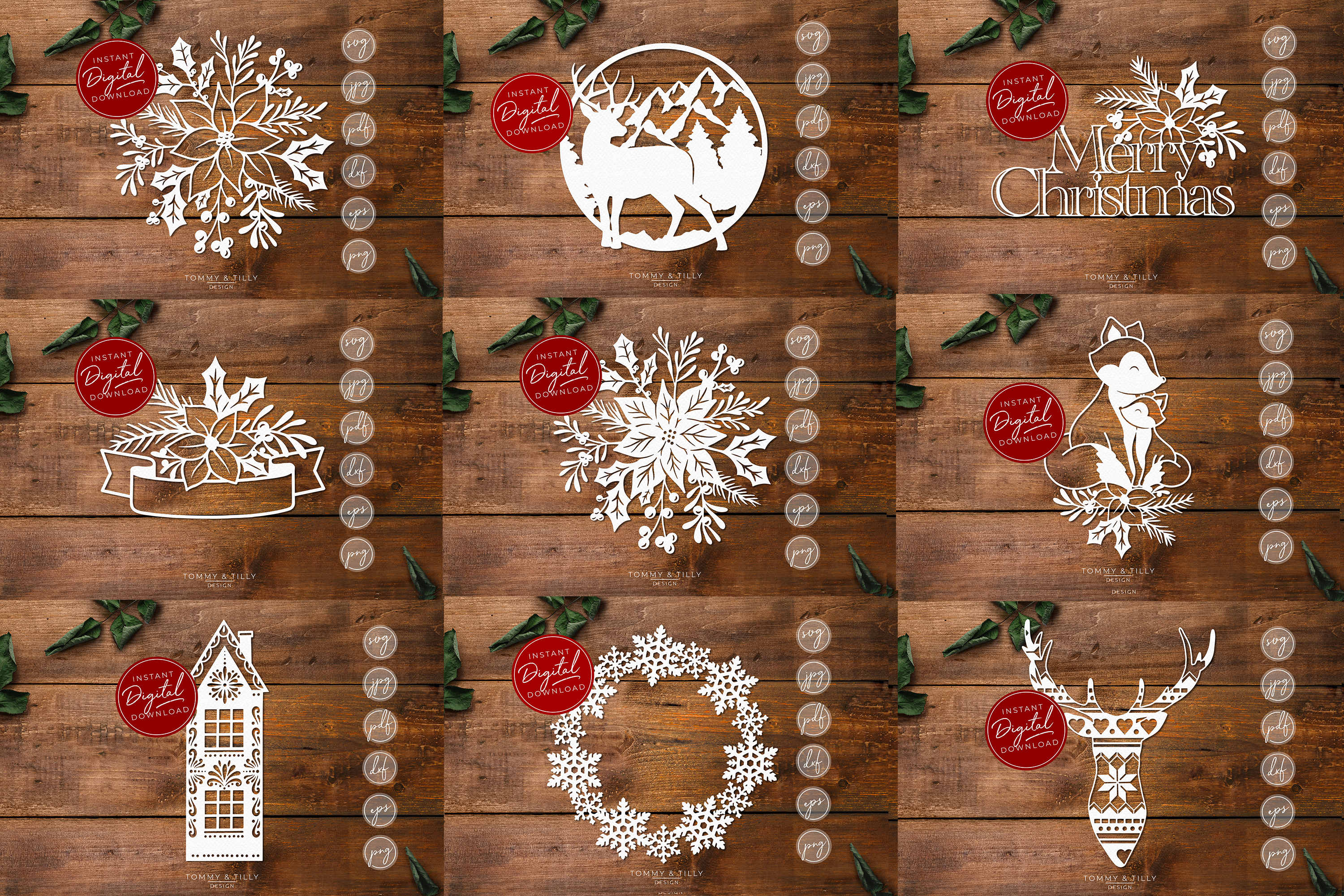 MEGA BUNDLE! 60 Christmas Cut Files - SVG | Papercut example image 7