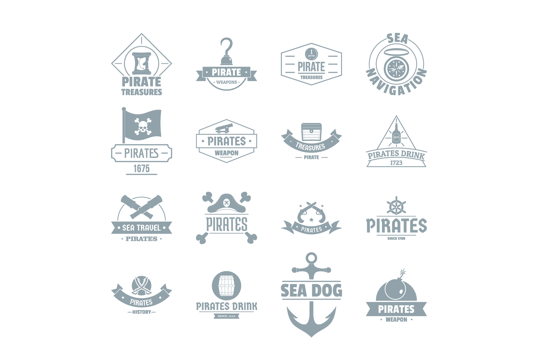 Pirate logo icons set, simple style example image 1