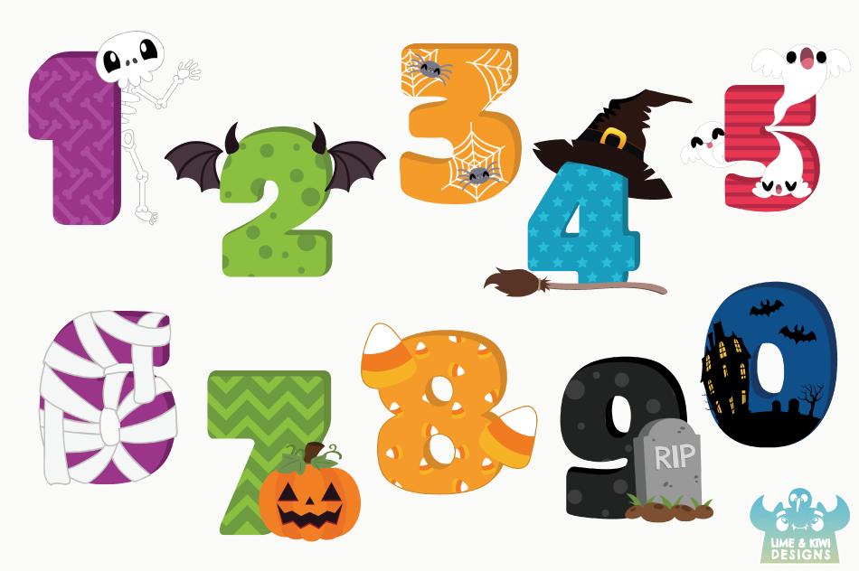 Halloween Numbers Clipart, Instant Download Vector Art example image 2