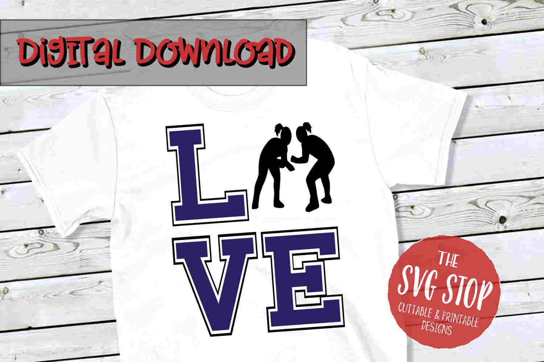 Love Wrestling Girls -SVG, PNG, DXF example image 1