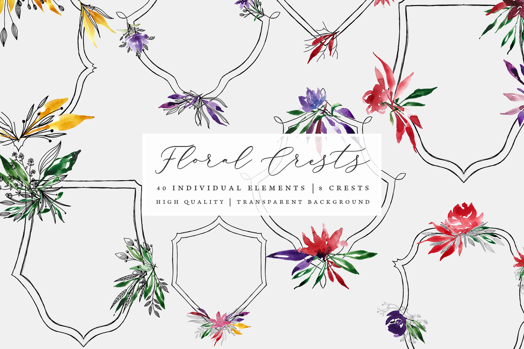 Floral Crests - Red, Purple, Yellow, Green Floral Clip Art example image 1
