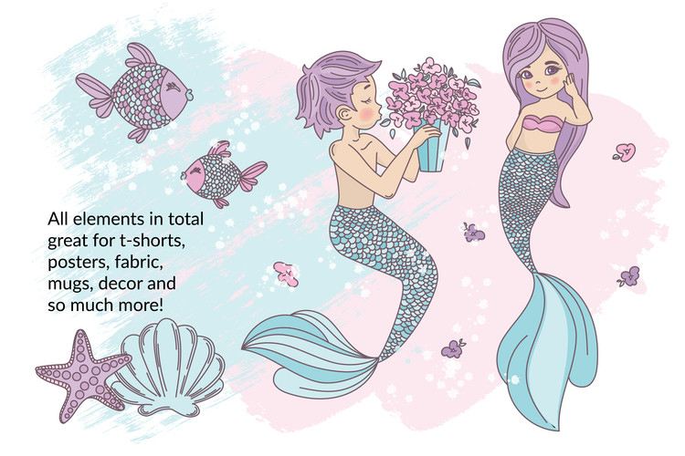 MERMAID IN LOVE Tropical Travel Vector Illustration Set example image 6