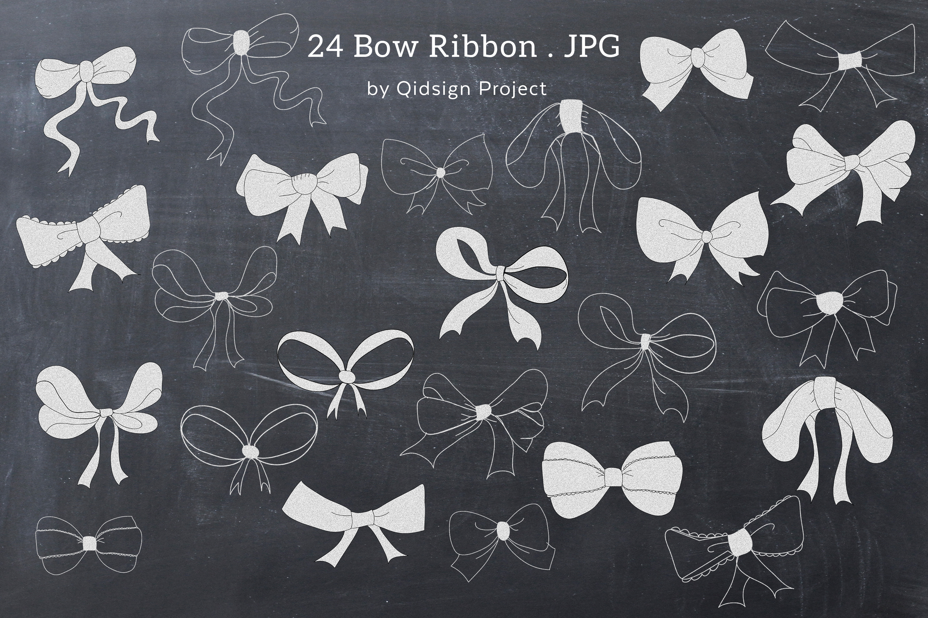Chalk Bow Clipart PNG example image 1