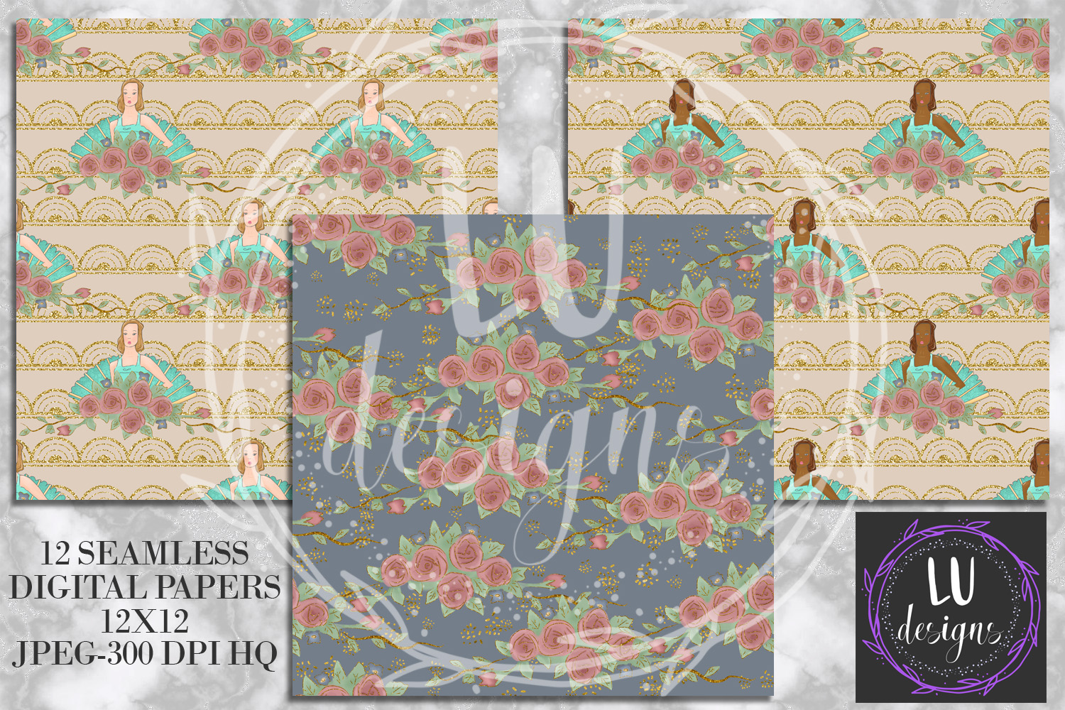 Vintage Boudoir Digital Papers, Glam Backgrounds example image 3