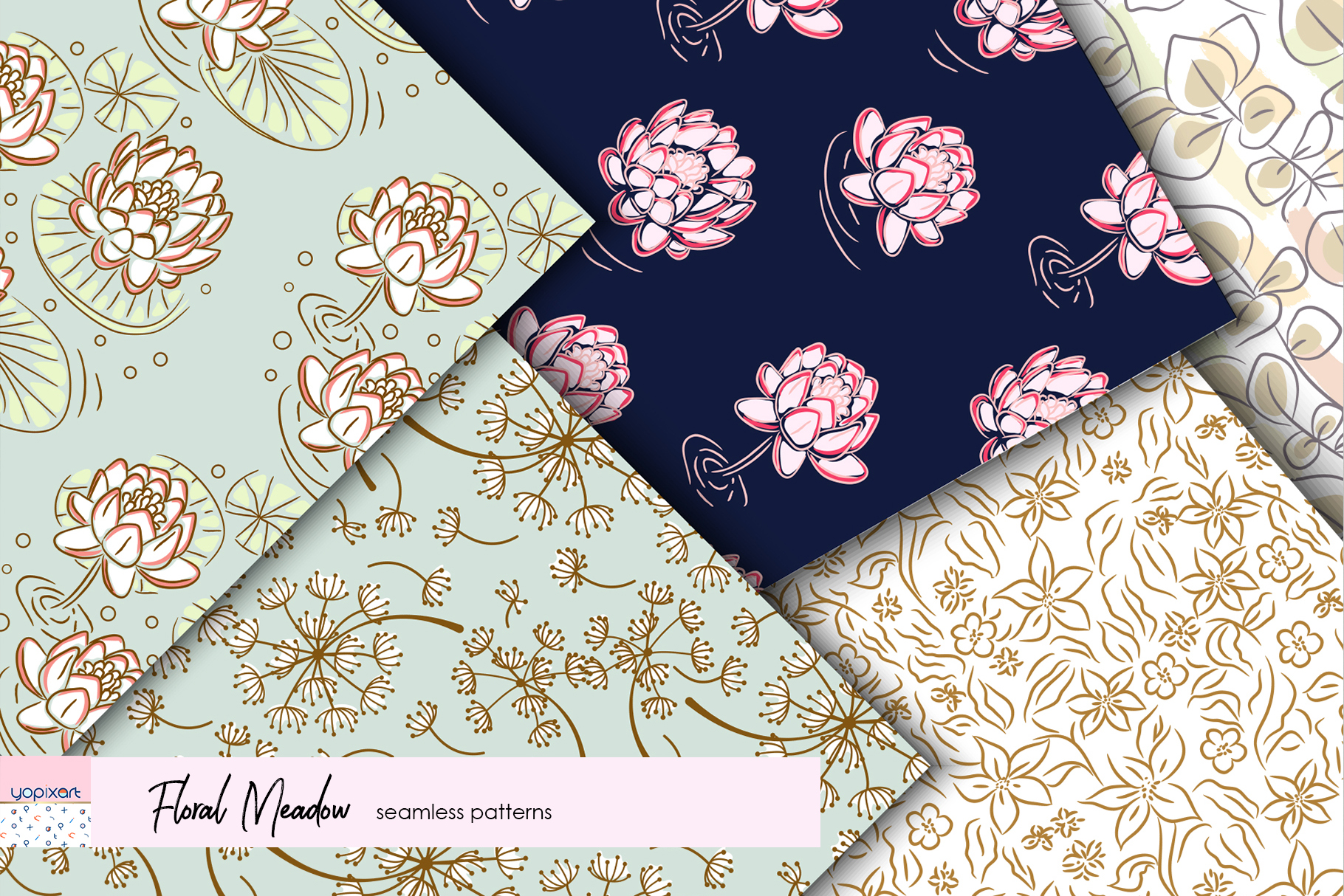 Floral Meadow - Seamless Patterns example image 5