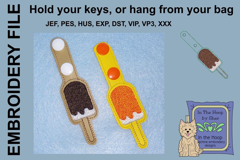ITH Ice Cream Bar Vinyl Key Fob or Bag Tag - Snap Tab example image 2