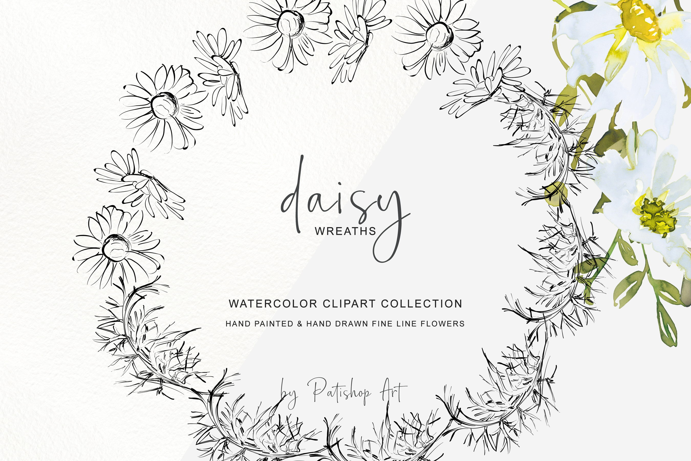 Watercolor Daisy Wreath Clip Art example image 5