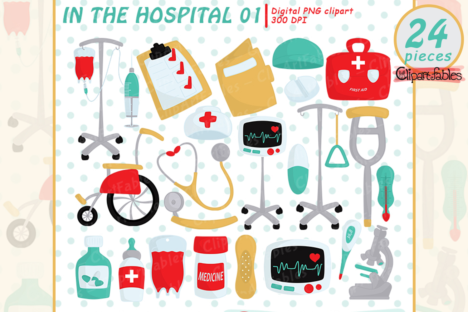 Hospital clipart, First aid clip art - INSTANT download example image 1