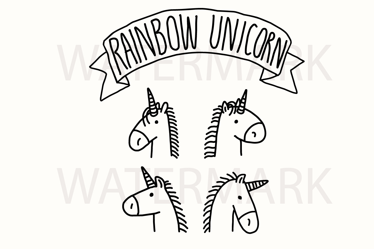Bundle of 4 Rainbow Unicorn Head Love Love - Color and Outline Version - SVG/JPG/PNG Hand Drawing example image 2