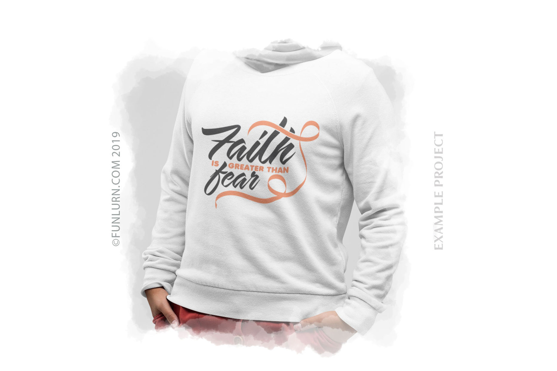 Faith is Greater Than Fear Peach Ribbon SVG Cut File example image 3