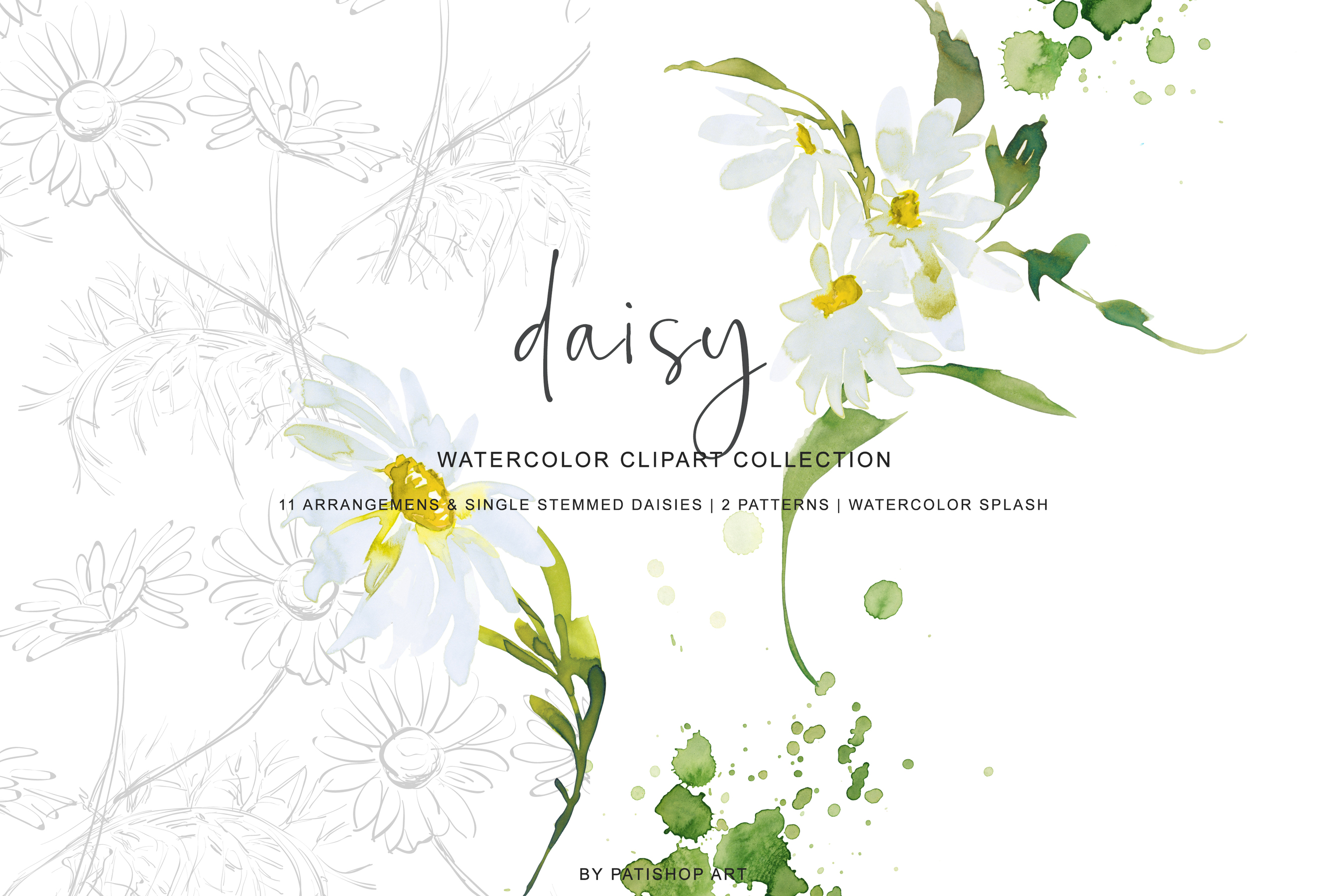 Watercolor Daisy Arrangement Clip Art example image 5