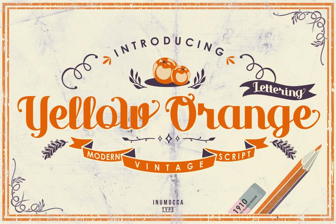 Yellow Orange Typeface + Bonus example image 1