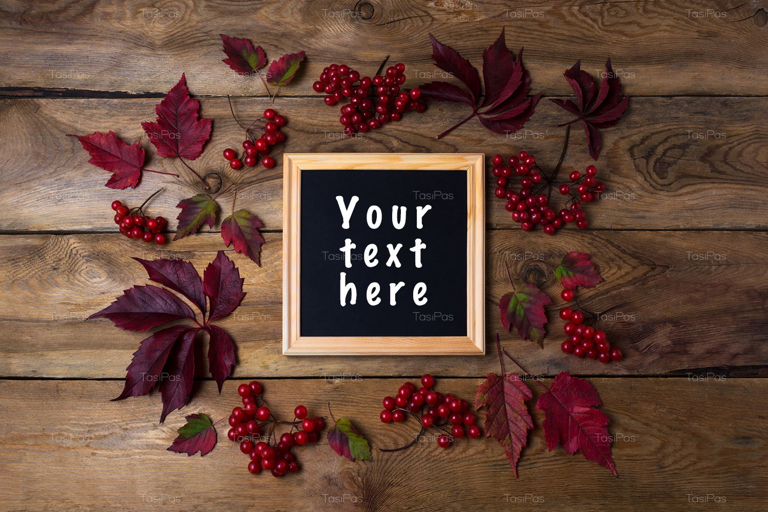 Rustic square frame mockup with viburnum berries example image 3